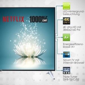 Telefunken XU65A441 165 cm (65 Zoll) Fernseher (4K UHD, Triple Tuner, Passiv 3D, Smart TV) schwarz [Energieklasse A+]