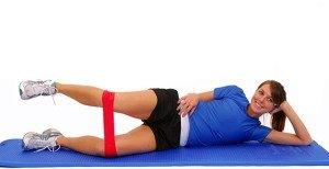 Uebung-Beinmuskulatur,Fitnessband-rot