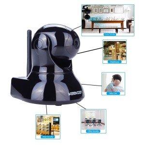 keekoon Wireless/Wired Tag/Nacht IP Kamera Wlan mit EU-Stecker, AGPtek® ip cam Megapixel HD Überwachungskamera mit TF SD Karteschlitz