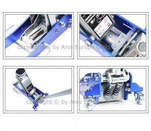 Der Aluminium Wagenheber von LiftMaster hat eine max. Tragkraft von 1,5 Tonnen.