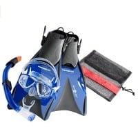 Schnorchelset mit Hydro-Spitzschutz und Adhesion Dry Top Spritzschutz.