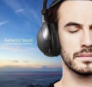 AudioMX Funkkopfhörer 2,4 GHz Kabellos mit Ladestation, Reichweite bis zu 30m, Geeignet für TVs, PCs und Smartphones, Schwarz