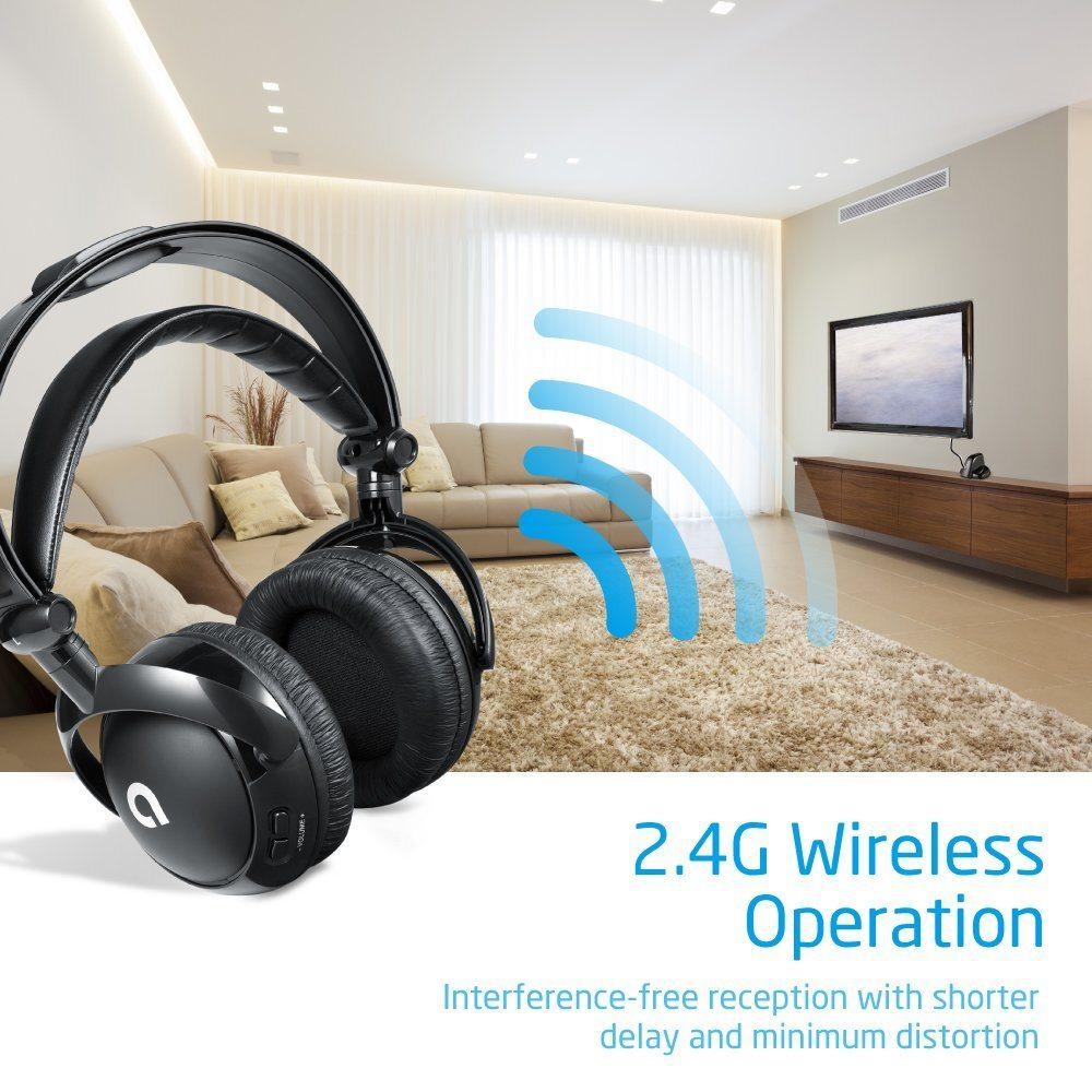 AudioMX-Funkkopfhoerer-2-4-GHz-Kabellos-mit-Ladestation-Reichweite-bis-zu-30m-Geeignet-fuer-TVs-PCs-und-Smartphones-Schwarz-Einzatz