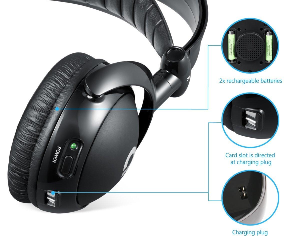 AudioMX-Funkkopfhoerer-2-4-GHz-Kabellos-mit-Ladestation-Reichweite-bis-zu-30m-Geeignet-fuer-TVs-PCs-und-Smartphones-Schwarz-info