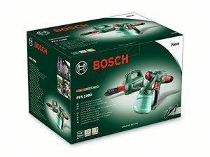 Bosch DIY Farbsprühsystem PFS 1000, Farbbehälter 800 ml, Düse für Lacke und Lasuren, Schultergurt, Karton (410 W, 100 ml/min, 1,5 m²/min)