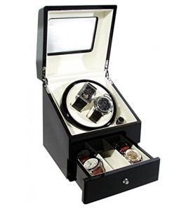 CKB Ltd DELUXE EURO Automatische Uhrenbeweger mit Doppel Watch Box mit Draw - 4 Timer Modi Premium-Silent-Motor - CKBDRAW73-EURO