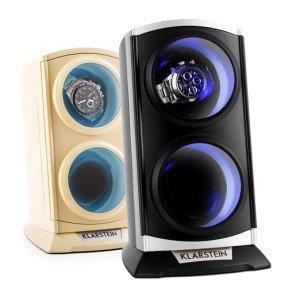 Klarstein St.Gallen Premium Uhrenvitrine vertikaler Uhrenbeweger mit LED Beleuchtung (für 2 Uhren, flüsterleise, 4 Rotationsprogramme, 3 Drehmodi) schwarz-blau oder creme