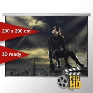 Leinwandking Rolloleinwand 200 x 200cm,Leinwand Format 1:1 , Heimkino Leinwand, Beamerleinwand,3D Leinwand,Full HD Leinwand, Leinwand Beamer