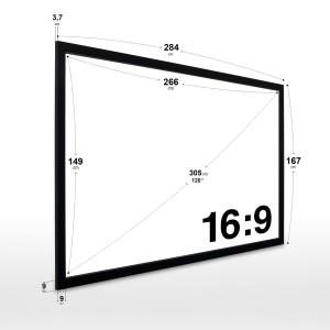 eSmart Germany MIRALE RAHMEN LEINWAND | Gesamtbreite 284 cm | Darstellungsfläche 266 x 149 cm | Bildformat 16:9 | mit Vollmaskierung | Modell 2018