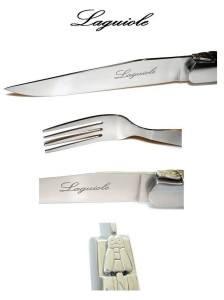 6 Steakmesser + 6 (KOSTENLOSEN !) Gabeln Authentisch LAGUIOLE Picasso Elfenbeinfarbe Weiß - Aus Schwerem Gehärtetem 25/10 Edelstahl (Exklusives Qualität Farbe TafelBesteck für 6 Personen - direkt aus Frankreich)