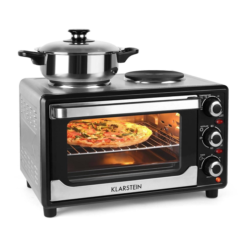Mini Backofen Grillofen Pizzaofen Doppel Kochplatte Umluft Drehspieß 45L 2000W