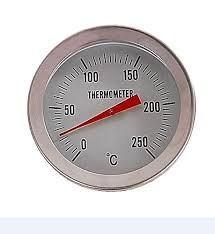 Der Räucherofen mit Sichtscheibe und Thermometer.