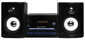 Stereoanlage Design Kompaktanlage Mini HiFi Stereoanlage Multimedia Musikanlage CD MP3 USB Player Radio (Schwarz mit LED Beleuchtung)