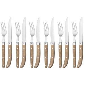 WMF Steakbesteck 12-teilig für 6 Personen Ranch Klinge: Spezialklingenstahl geschmiedet | Cromargan Edelstahl rostfrei18/10 poliert Eichenholz geölt