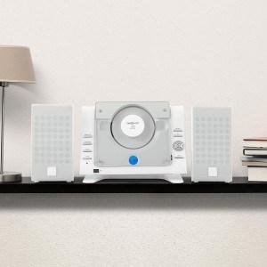 oneConcept Vertical 70 Design Kompaktanlage Vertikal Stereoanlage mit USB (MP3-CD-Wechsler, AUX, Fernbedienung, inkl. Standfuß und Wand-Monatage-Set) weiß