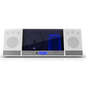 oneConcept Vertical 90 Design Hifi Anlage USB Stereoanlage mit MP3-CD-Player (SD-Kartenslot, UBS, AUX, Sleeptimer, Uhr, Fernbedienung, Wandmontage geeignet) weiß