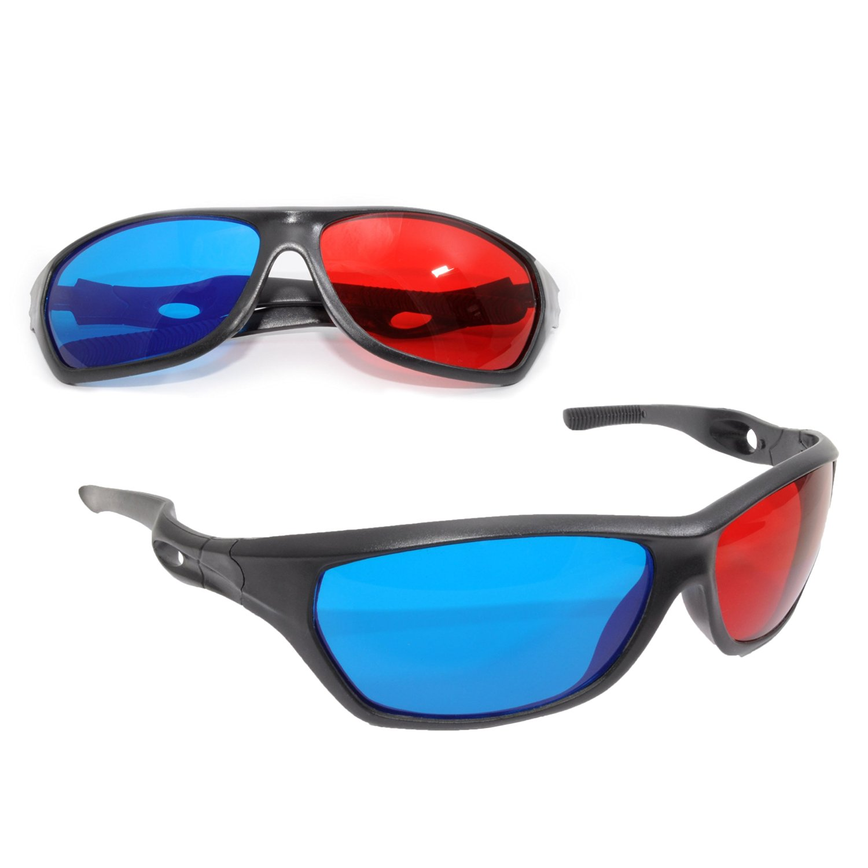 2x 3D Brille Sportliche 3D Anaglyphenbrillen Für TV Oder PC Spiele