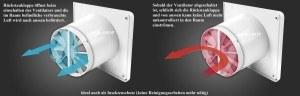 Badlüfter Ø 100mm Glasfront Glas mit Rückstauklappe und Timer / Nachlaufegelung Lüfter Ventilator Deckenlüfter WEG Front Wandlüfter Badventilator Ventilator Einbaulüfter Bad Küche