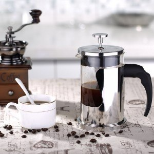 Ecooe Kaffeebereiter 600ml French Press kaffee Edelstahl Borosilikatglas Kaffeekanne Press