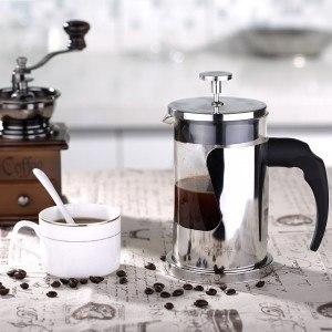 Ecooe Kaffeebereiter 600ml French Press kaffee Edelstahl Borosilikatglas Kaffeekanne Press