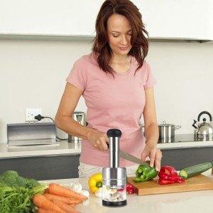 Gearmax® Edelstahl Zwiebelschneider Knoblauchschneider Gemüsehobel