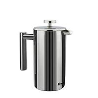 Doppelwandige Konstruktion aus 100% Edelstahl: Hält Kaffee oder Tee länger warm, trotz kühler Außenwand; Kapazität von 1000ml.
