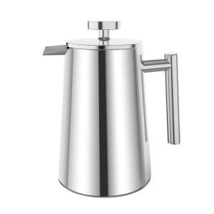 Plemo Kaffeebereiter French Press Kaffeepresse aus Rostfreiem Edelstahl 1 Liter