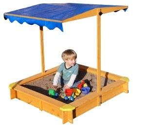 Sandkasten mit verstellbarem Dach inkl. Bodenplane, Sitzecken und Lasur