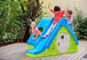 Spielhaus Kinderspielhaus mit Rutsche und Tunnel 3in1 für drinnen und Draußen Gartenhaus Kinderhaus Kinder Spiel Haus Gartenhaus DF100