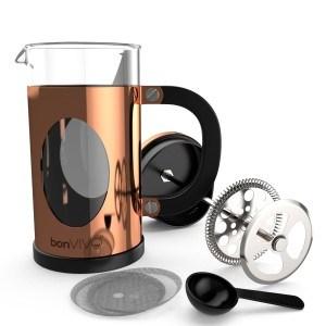 bonVIVO® GAZETARO I, Design-Kaffeebereiter und French Press in Kupfer- oder Edelstahl Optik aus Edelstahl und Glas, mit Filter, Größe: Mittel (035l/350ml / 3 Tassen)oder Groß (1l/1000ml /8 Tassen)