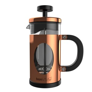 bonVIVO® GAZETARO I, Design-Kaffeebereiter und French Press in Kupfer- oder Edelstahl Optik aus Edelstahl und Glas, mit Filter, Größe: Mittel (035l/350ml / 3 Tassen)oder Groß (1l/1000ml /8 Tassen)