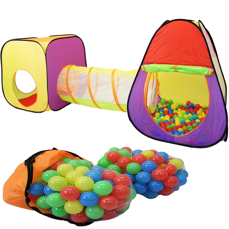 KIDUKU® 3 Teiliges Kinderspielzelt Krabbeltunnel