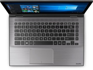 Toshiba Satellite Radius 14 L40W-C-10Z 35,56 cm (14 Zoll HD) Convertible Notebook (Intel Core i3-5015U, 4GB RAM, 1TB HDD, Intel HD Graphics 5500, Win 10) gebürstetes Aluminiumgehäuse