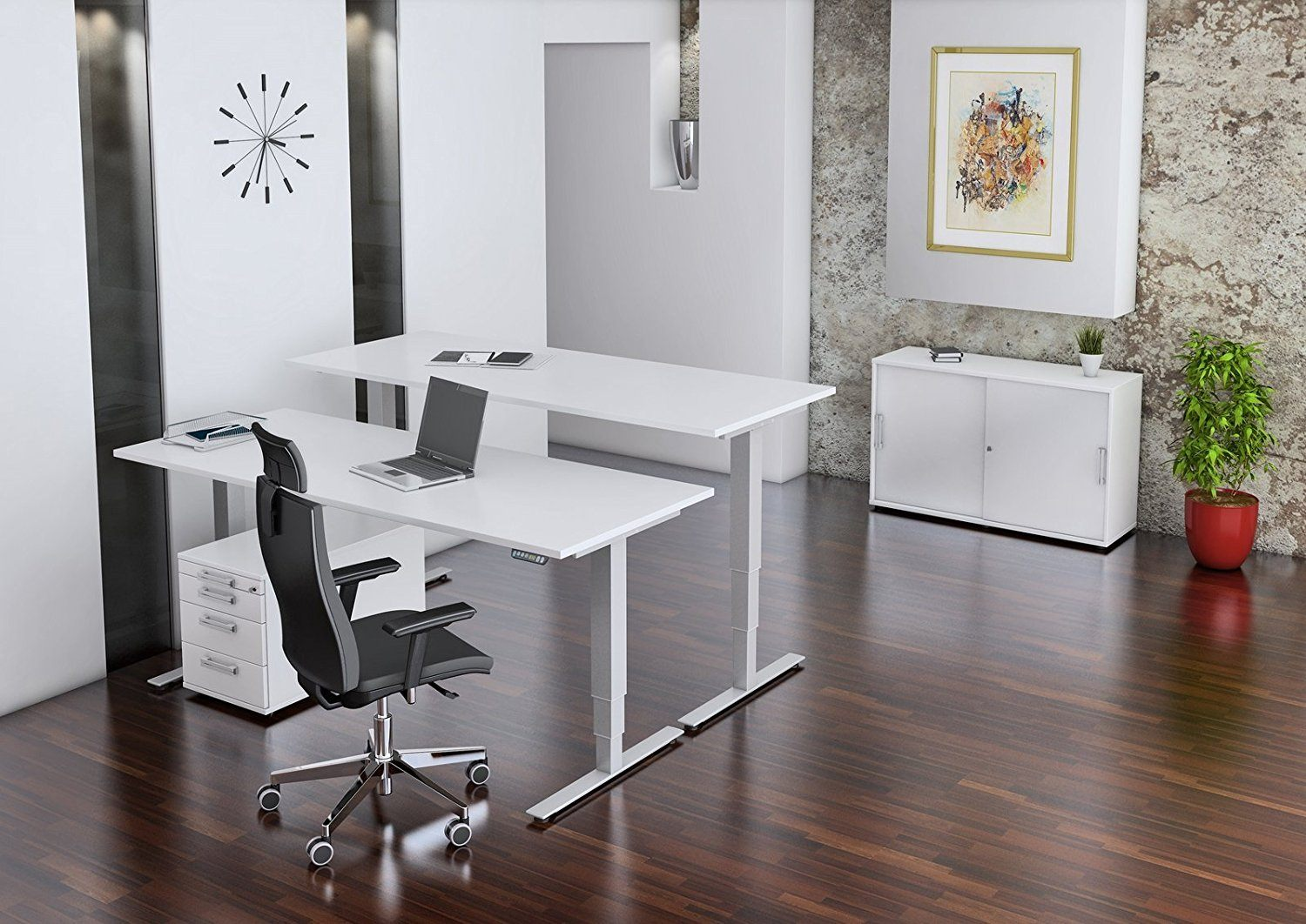 b m ergonomischer schreibtisch mit elektrischer h henverstellung im vergleich expertentesten. Black Bedroom Furniture Sets. Home Design Ideas
