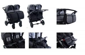 Kombi- und Zwillingskinderwagen 2in1 von Clamaro in unterschiedlichen Ansichten