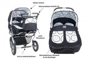 Zwillings- und Kombikinderwagen mit Beindecke und weiteren Eigenschaften
