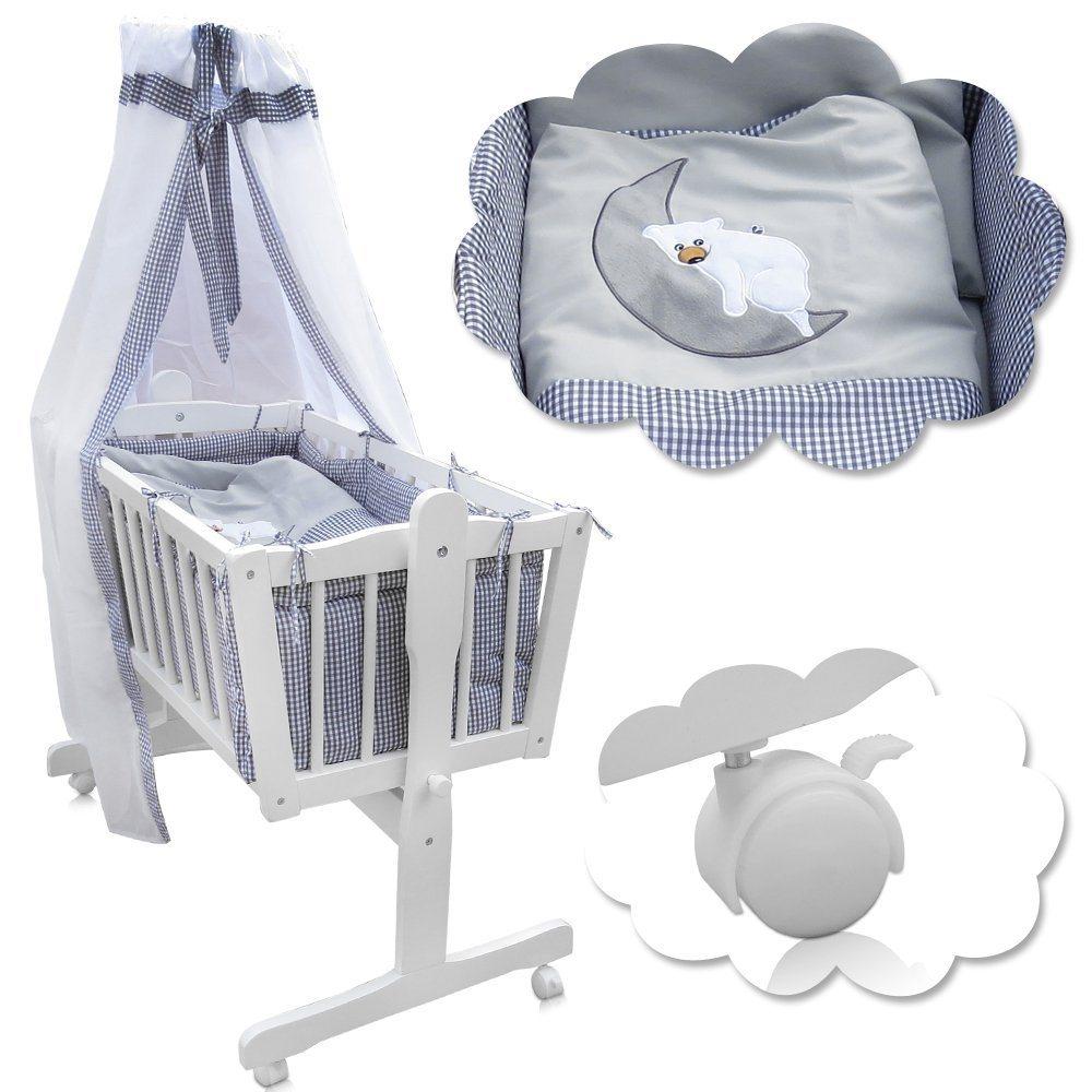 Babywiege Kinderbett Babybett Stubenwagen Beistellbett 9 Tlg. Zubehör