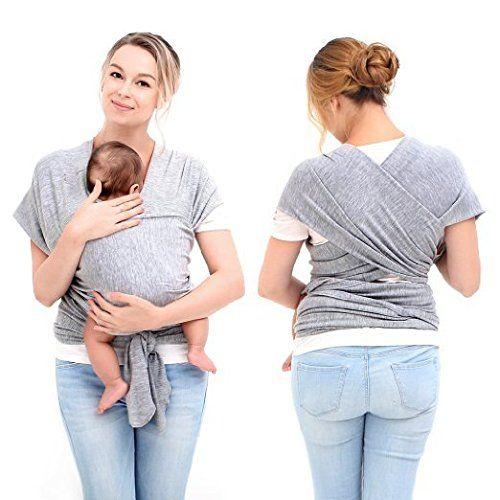 InnooTech Tragetuch Babytragetuch Bauchtrage Babytrage Baby Wrap Tragehilfe Baby Carrier Sling Mit Lehr DVD Grau 3