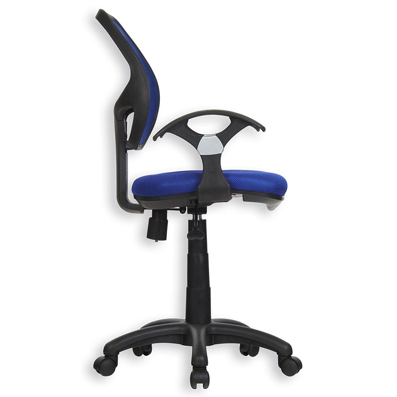 Kinderdrehstuhl Schreibtischstuhl Drehstuhl Bürodrehstuh COOL 5 Doppelrollen Sitzpolsterung Armlehnen In Blau