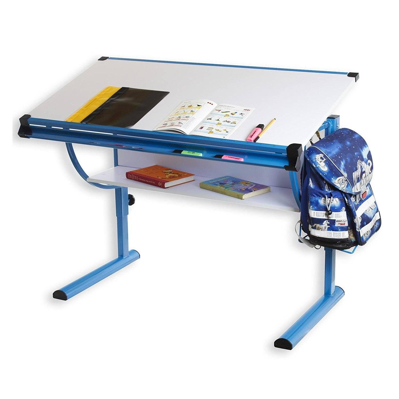 Kinderschreibtisch Schülerschreibtisch BLUE In Weiß Blau Höhenverstellbar Neigungsverstellbar