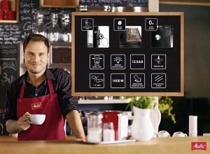 Melitta E 957-103 Kaffeevollautomat Caffeo Solo & Perfekt Milk (Cappuccinatore) silber in einer Bar
