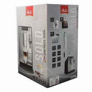 Verpackung vom Melitta E 957-103 Kaffeevollautomat Caffeo Solo & Perfekt Milk (Cappuccinatore) silber