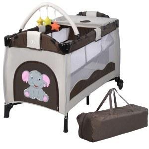 Reisebett Babybett Klappbett Babyreisebett Kinderbett Multi-Funktion Kinderreisebett Baby Laufstall Inkl. Matratze+Zubehör (Braun)