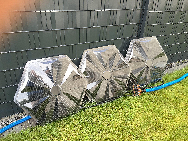 Turbo Sunny Solar Poolheizung 32mm Anschluss 3er Set 365W Heizleistung Pro Sonnenkollektor Warmer Badespaß Für Ihren Pool Im Garten