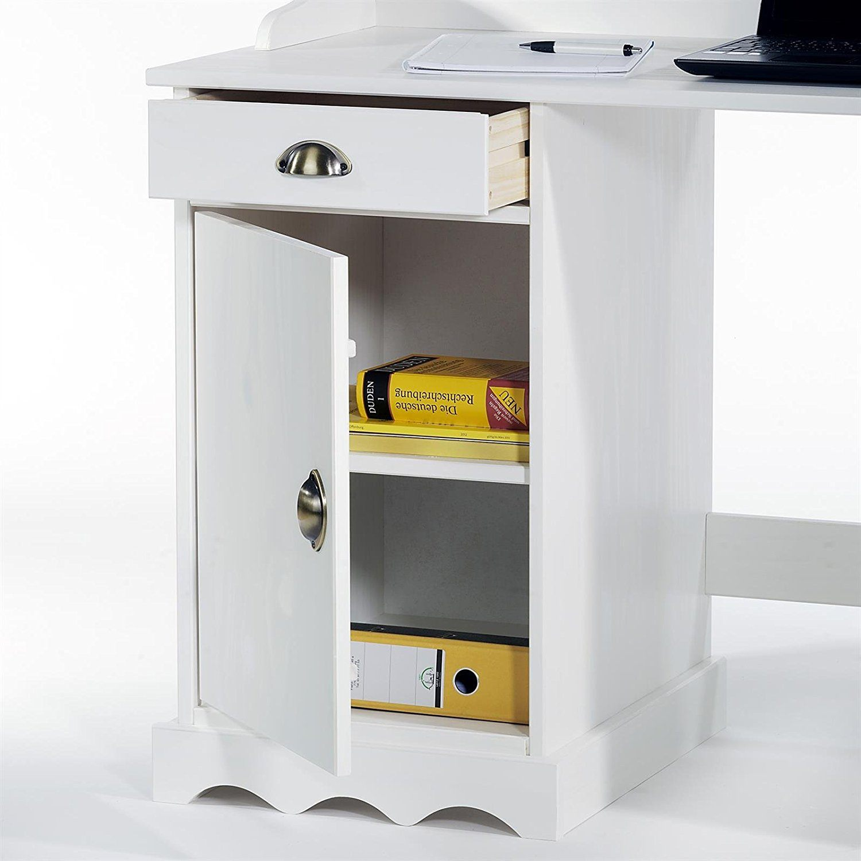 Der attraktive Schreibtisch mit Aufsatz Sandrine - Fach mit Tür