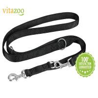 VITAZOO Premium Hundeleine in Graphitschwarz, massiv und verstellbar in 4 Längen (1,4 m - 2,1 m)