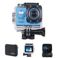 Action Cam WiFi Full HD Unterwasserkamera Digital Wasserdicht 2.0 Zoll LCD Helmkamera mit 2 Stü. Batterien