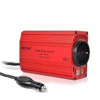 BESTEK 300W Spannungswandler Wechselrichter DC 12V auf AC 230V Inverter; inkl. Kfz Zigarettenanzünder Stecker,rot