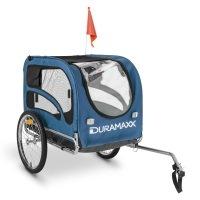DURAMAXX King Rex Fahrradanhänger Hundeanhänger (mit Hochdeichsel, Laderaum mit 250 Liter Volumen, belastbar bis 40 kg, Kugel-Kupplung für Fahrräder mit 26'' - 28'') blau oder rot