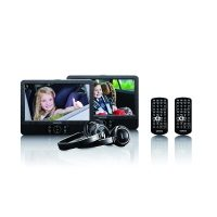 Lenco DVP-939 2x 9 Zoll DVD-Player mit Bildschirm, 2x Kopfhörer, USB, SD/MMC, 2x Fernbedienung, 2x Kopfstützenbefestigung, 2x Netzadapter, schwarz